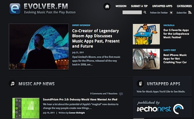 Evolver.fm front page